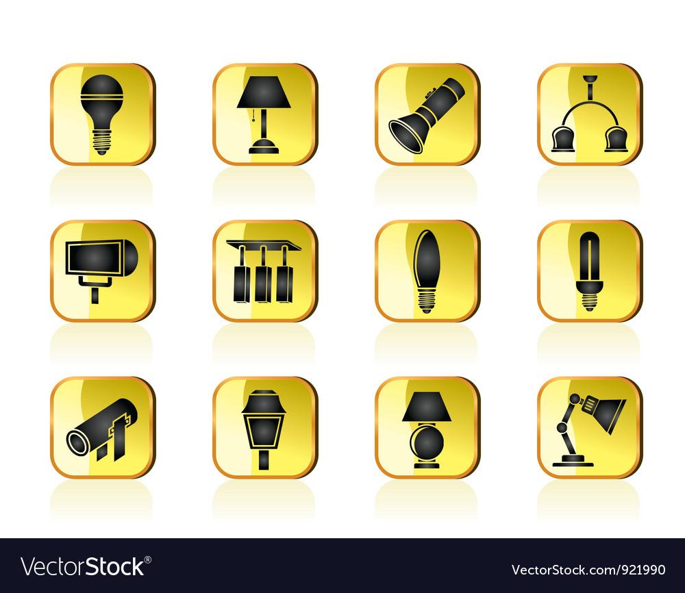 Different kind of lighting equipment vector