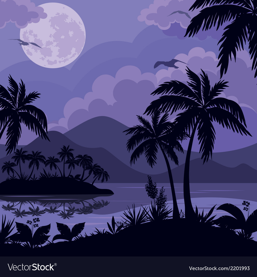 Tropical sea landscape with moon and palm vector