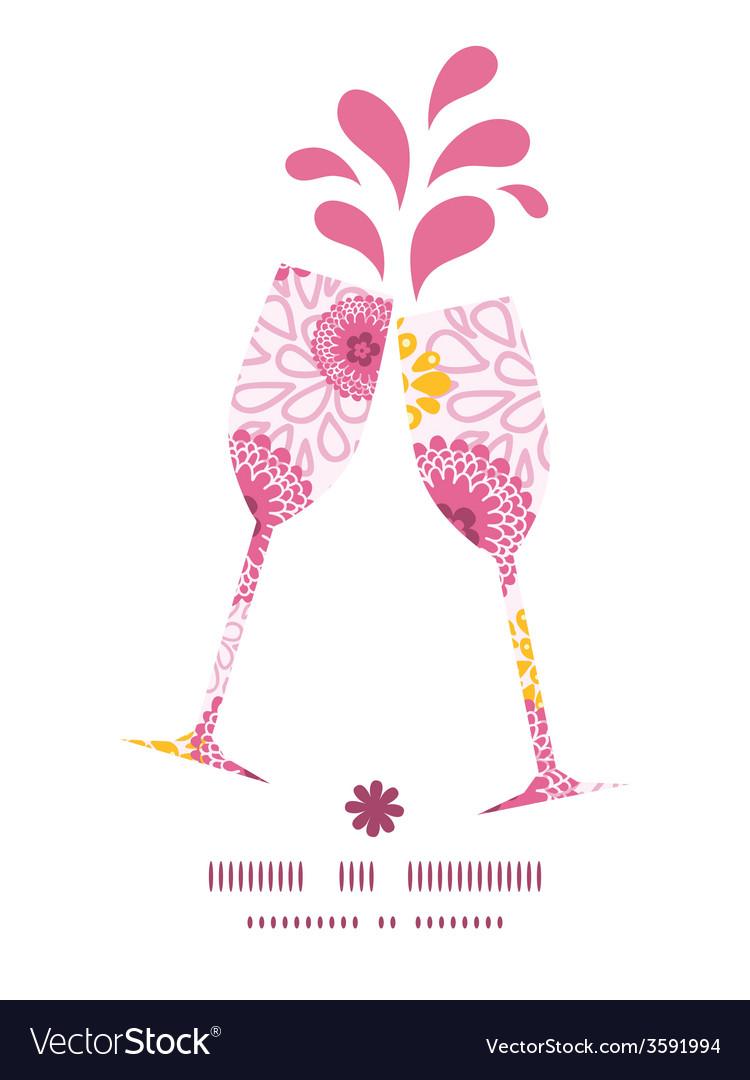 Pink field flowers toasting wine glasses vector