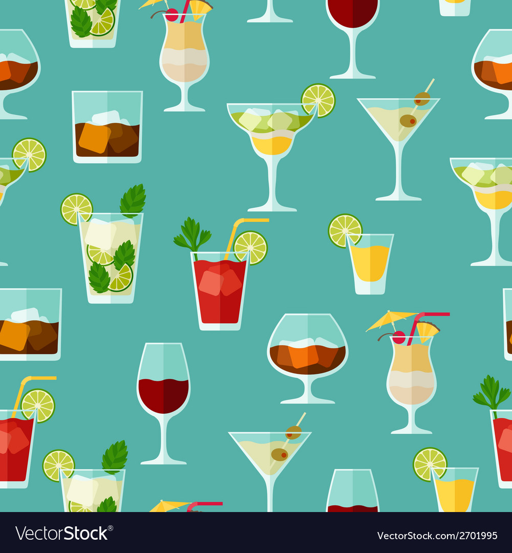 Alcohol drinks and cocktails seamless pattern in vector