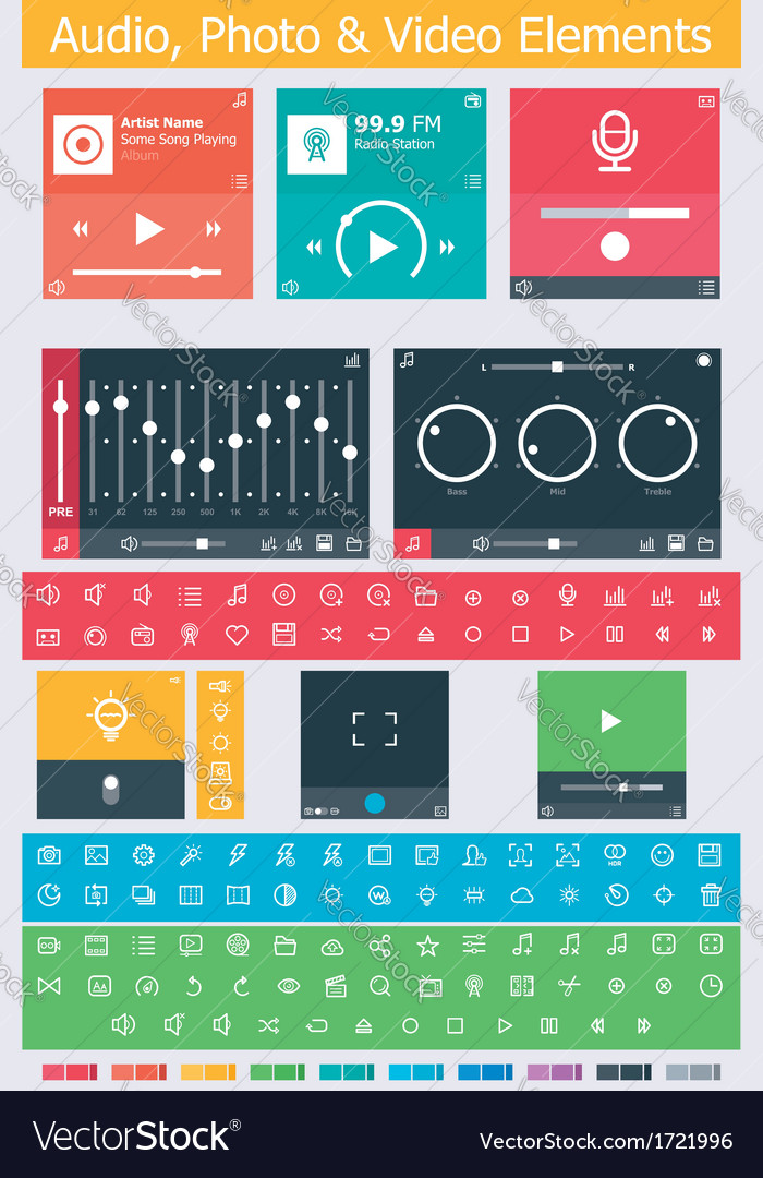 Flat photo video and audio app ui elements vector