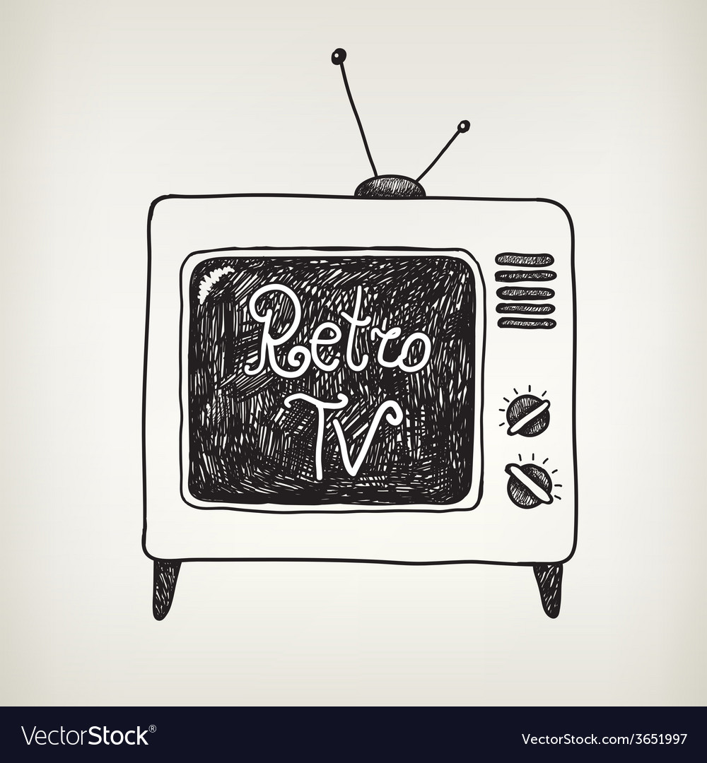 Hand drawn doodle retro tv isolated vector