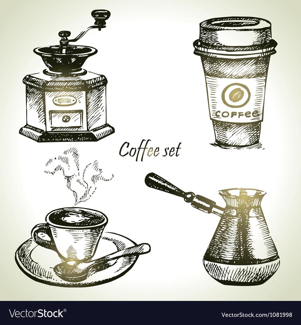 Hand drawn coffee set vector