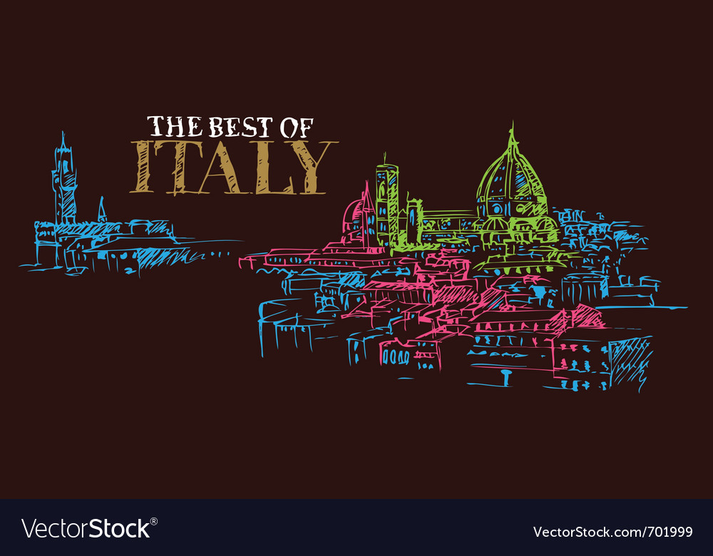 City panorama of florence italy vector