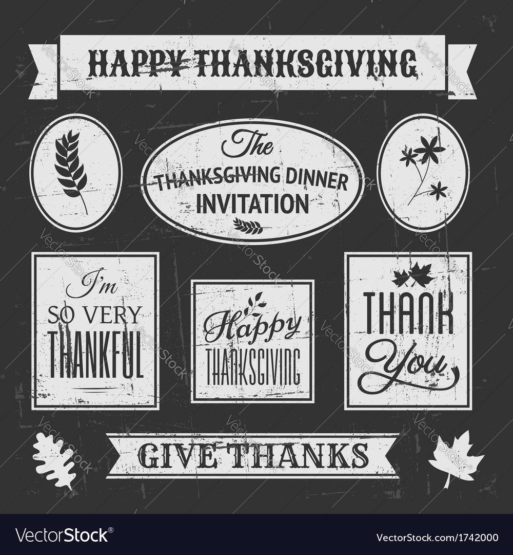 Chalkboard style design elements for thanksgiving vector