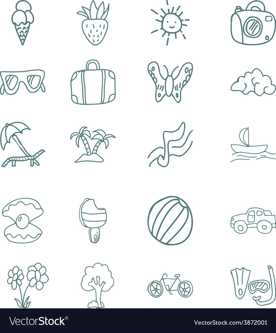 Hand draw icons set summer vacation vector