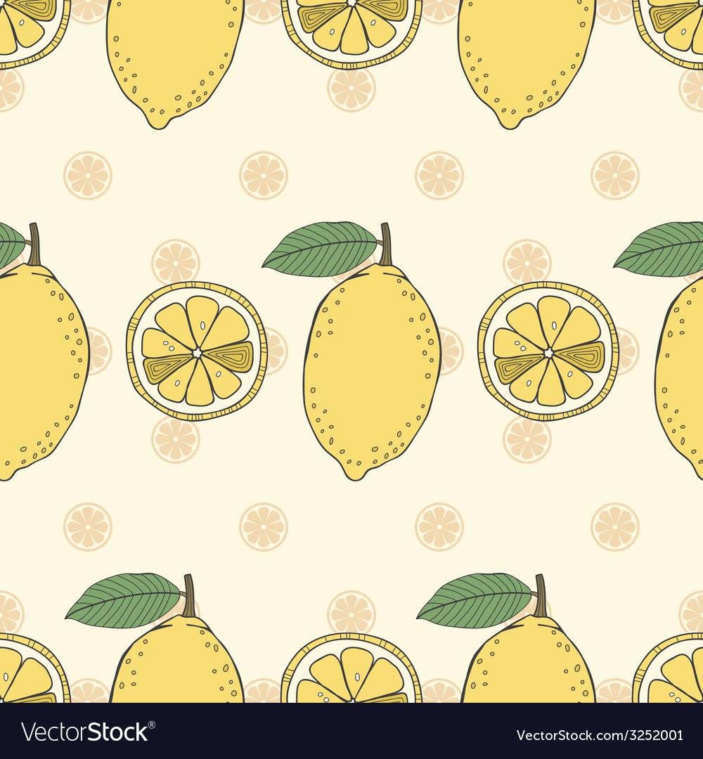Seamless fruit pattern of lemons vector