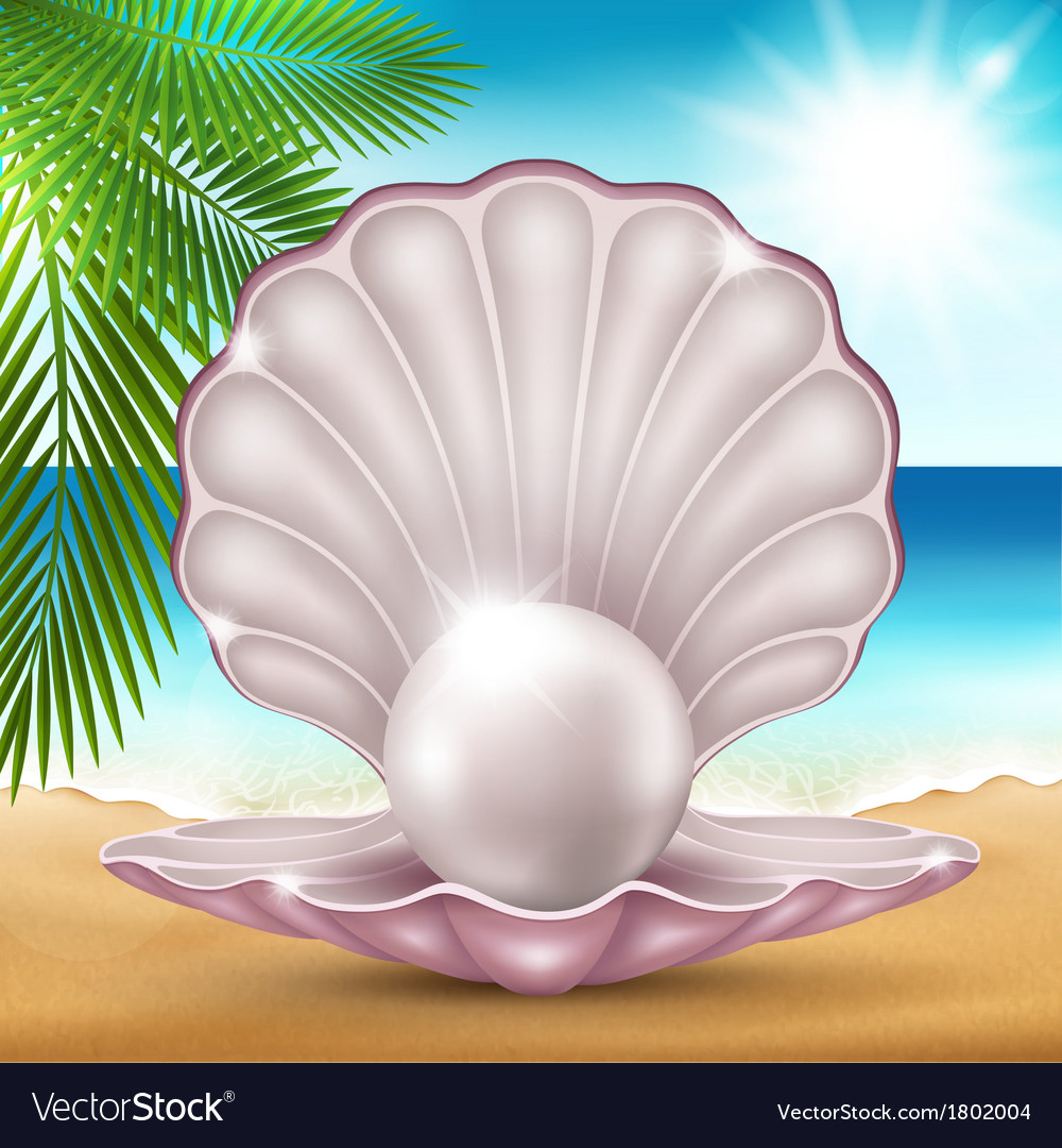 Pearl on the sand vector