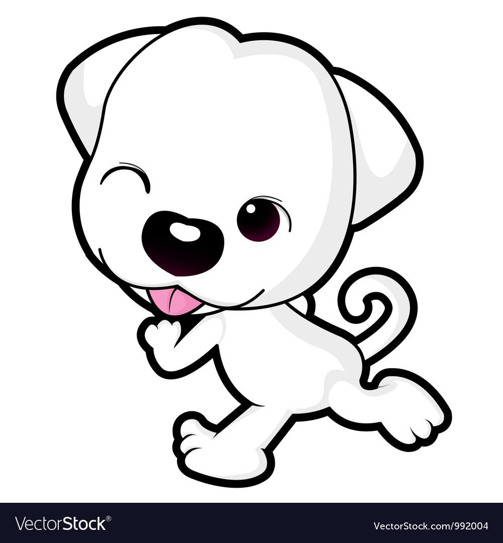 Running puppy dog character vector