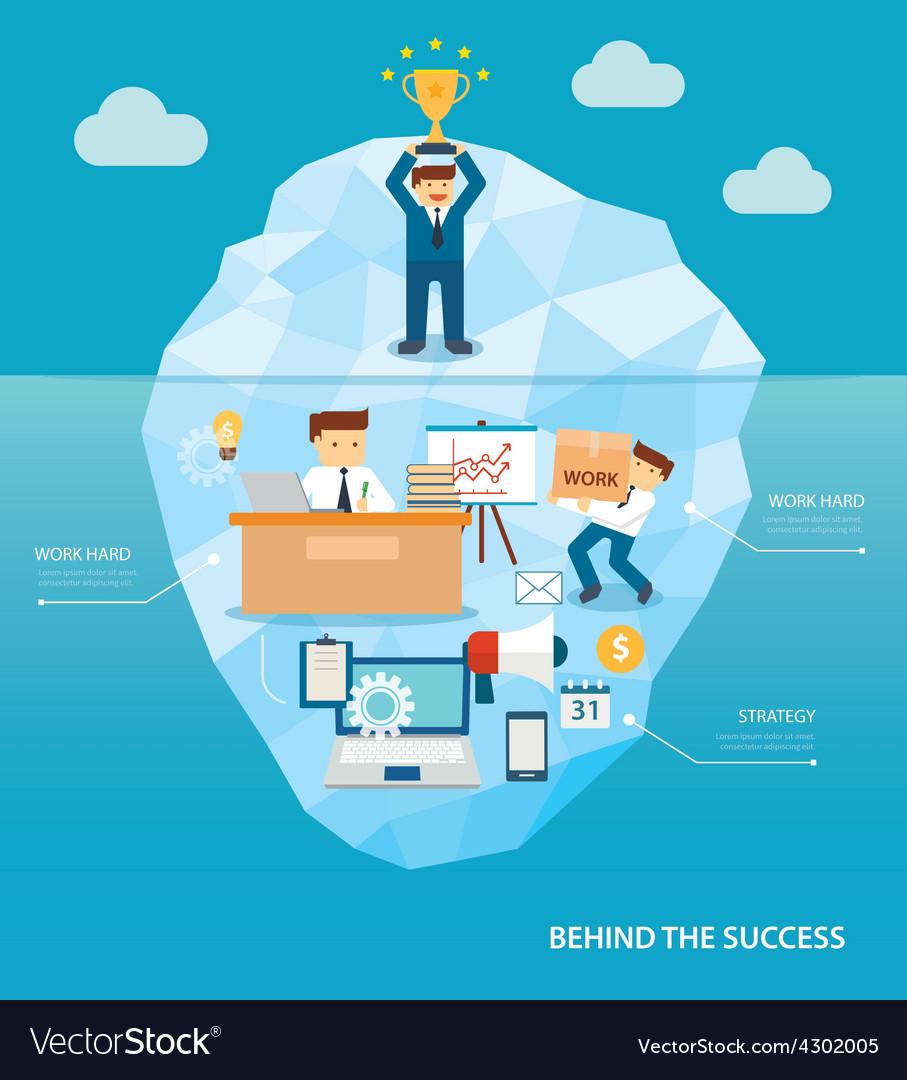 Behind business success flat design vector