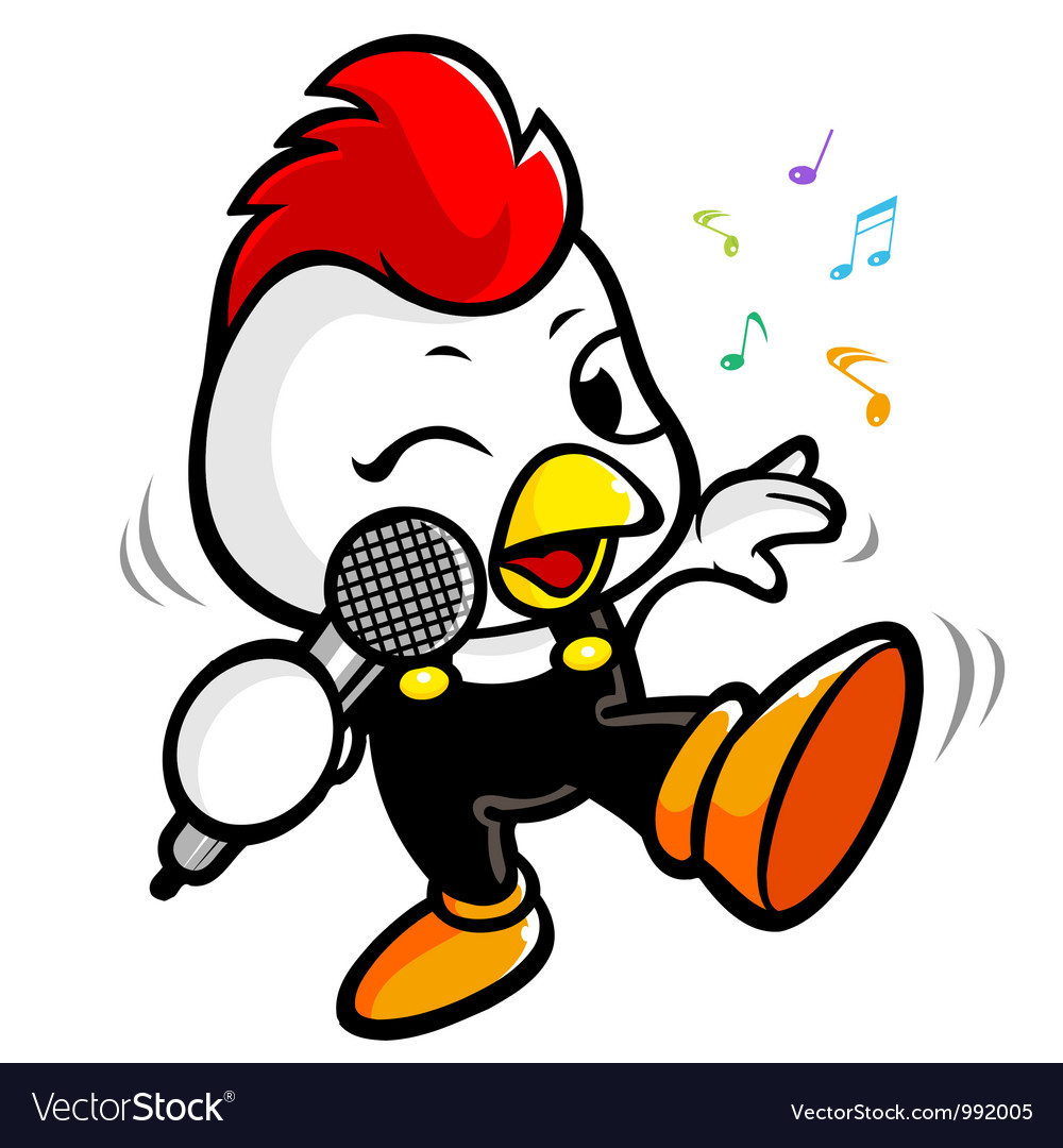 Exciting music and singing chicken vector