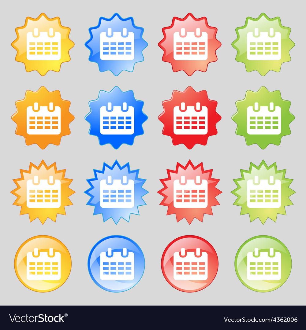 Calendar date or event reminder icon sign big set vector