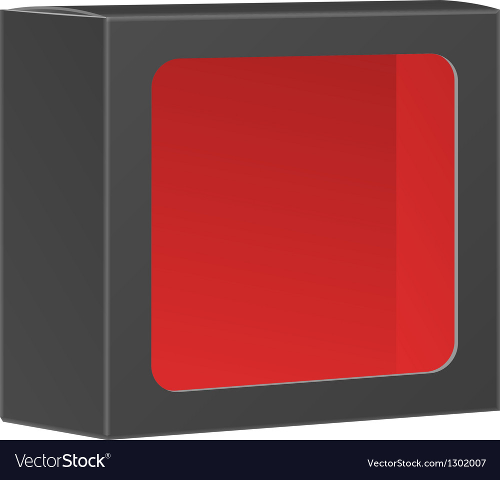 Blank black product package box with window vector