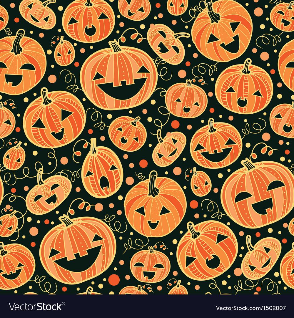Halloween pumpkins seamless pattern background vector