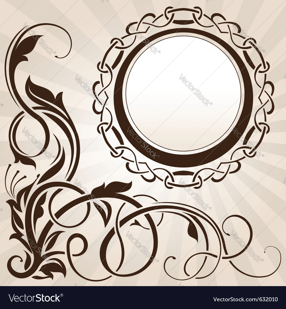 Brown vintage floral corner with frame vector