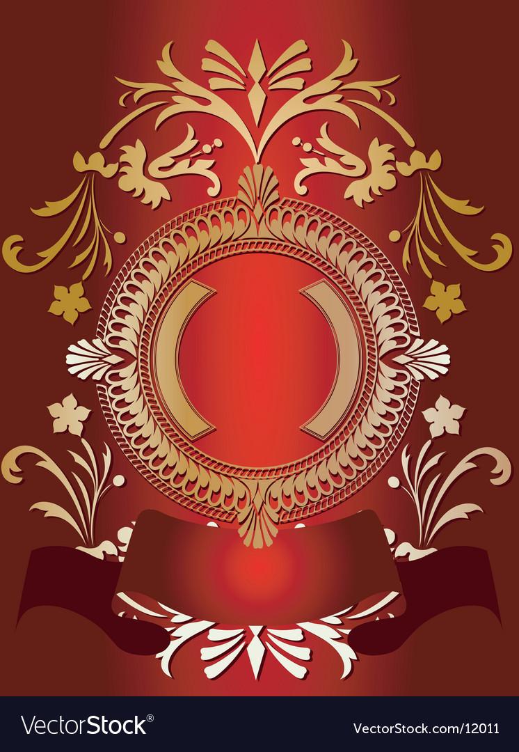 Golden ornate banner on red vector