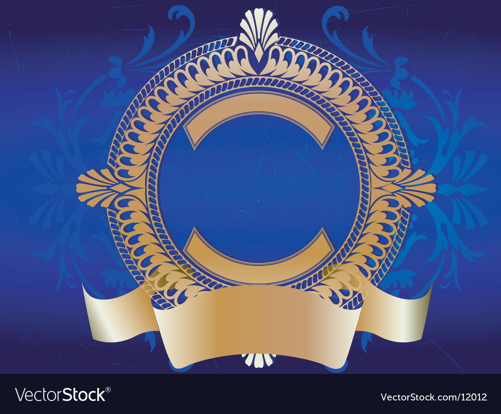 Golden ornate banner on blue vector