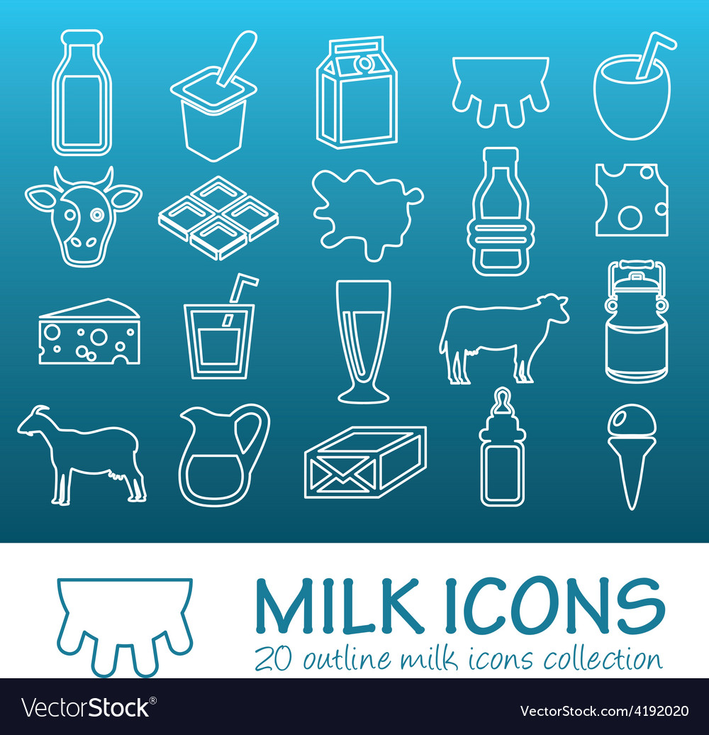 Outline milk icons vector