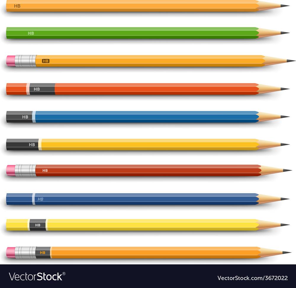 Pencils various design vector