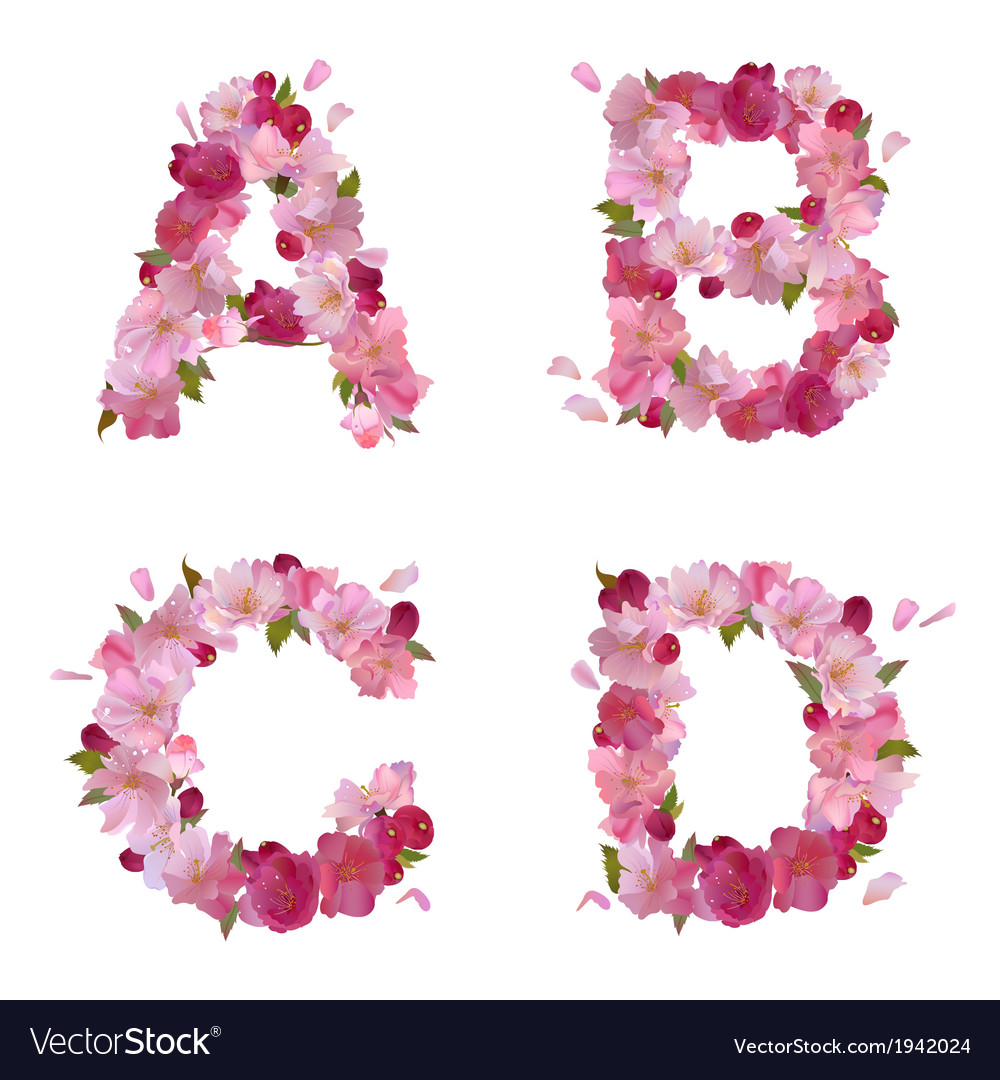 Spring alphabet with cherry flowers abcd vector
