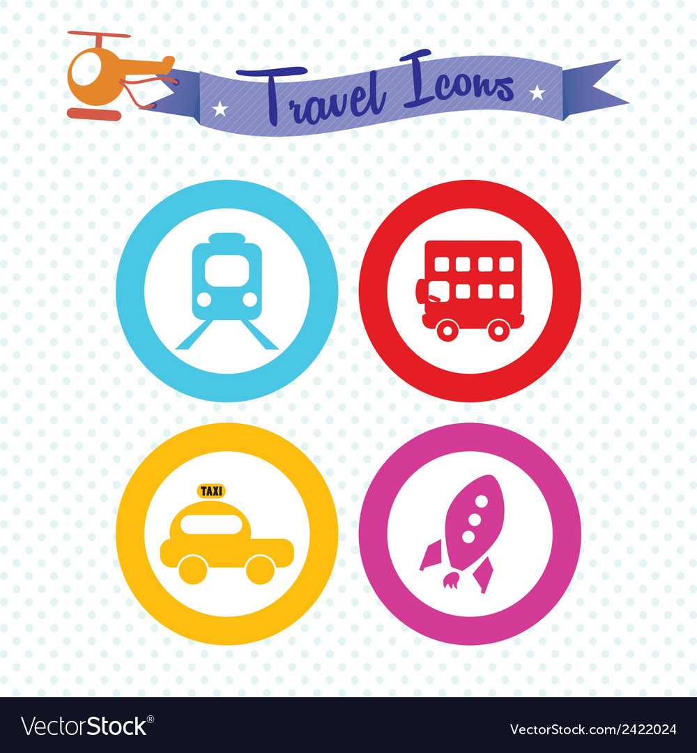Travel and transport icons vector