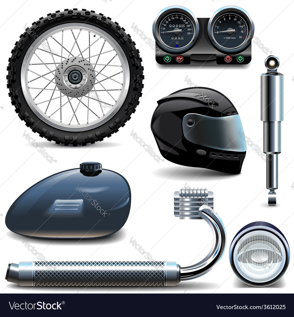 Motorcycle spares icons vector