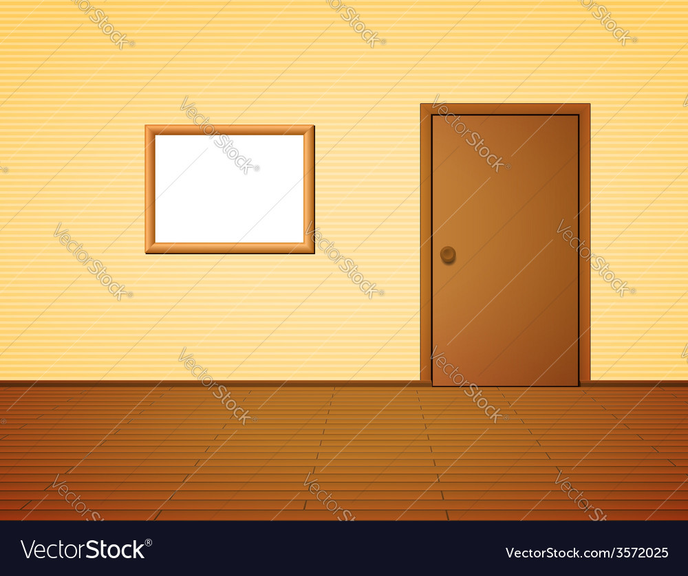 Room with door and frame vector