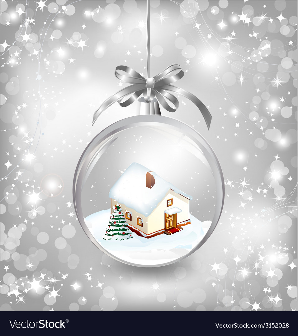 Glass ball christmas with a little house snow fir vector