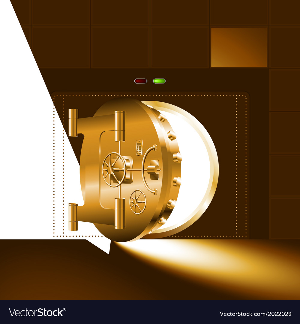 Light half open door safe gold vector