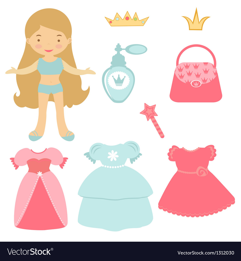 Blond princess paper doll vector