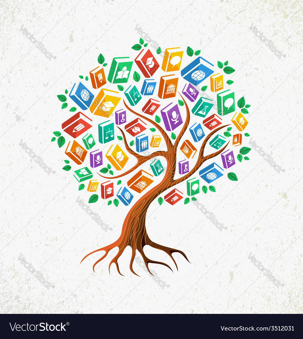 Knowledge and education concept tree books vector