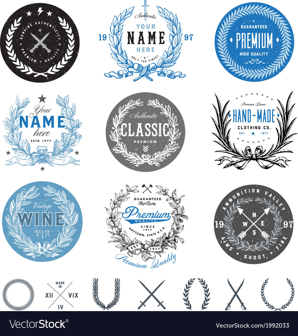 Wreath and badge set vector
