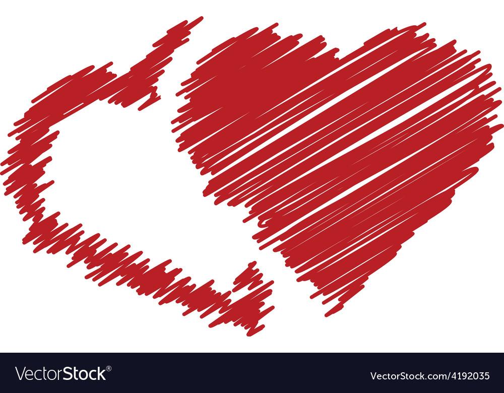 Handwriting hearts vector