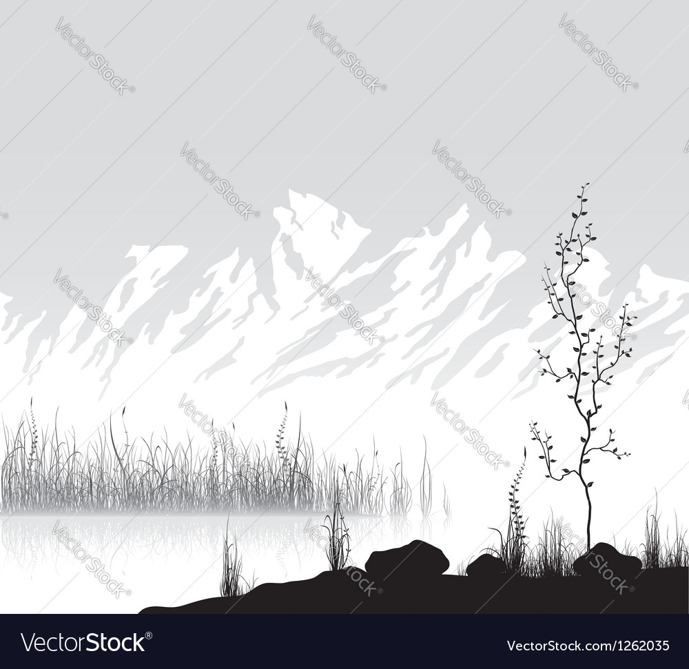 Landscape with mountains near lake vector
