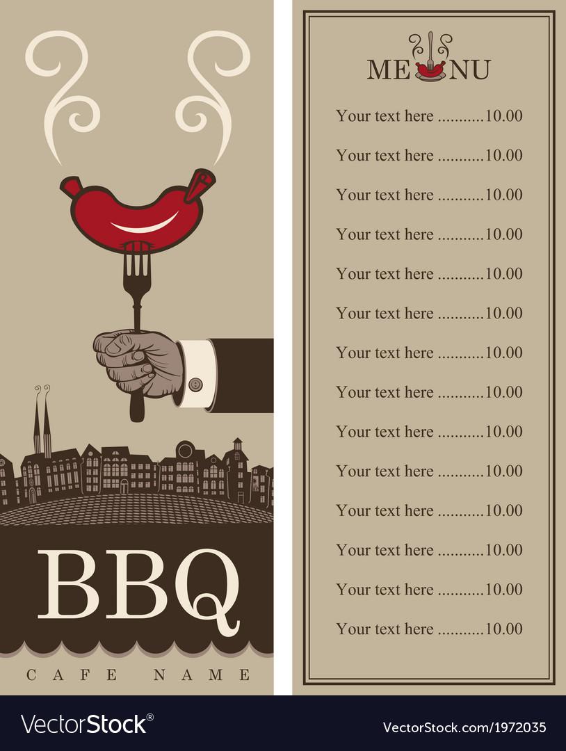 Menu for barbecue vector
