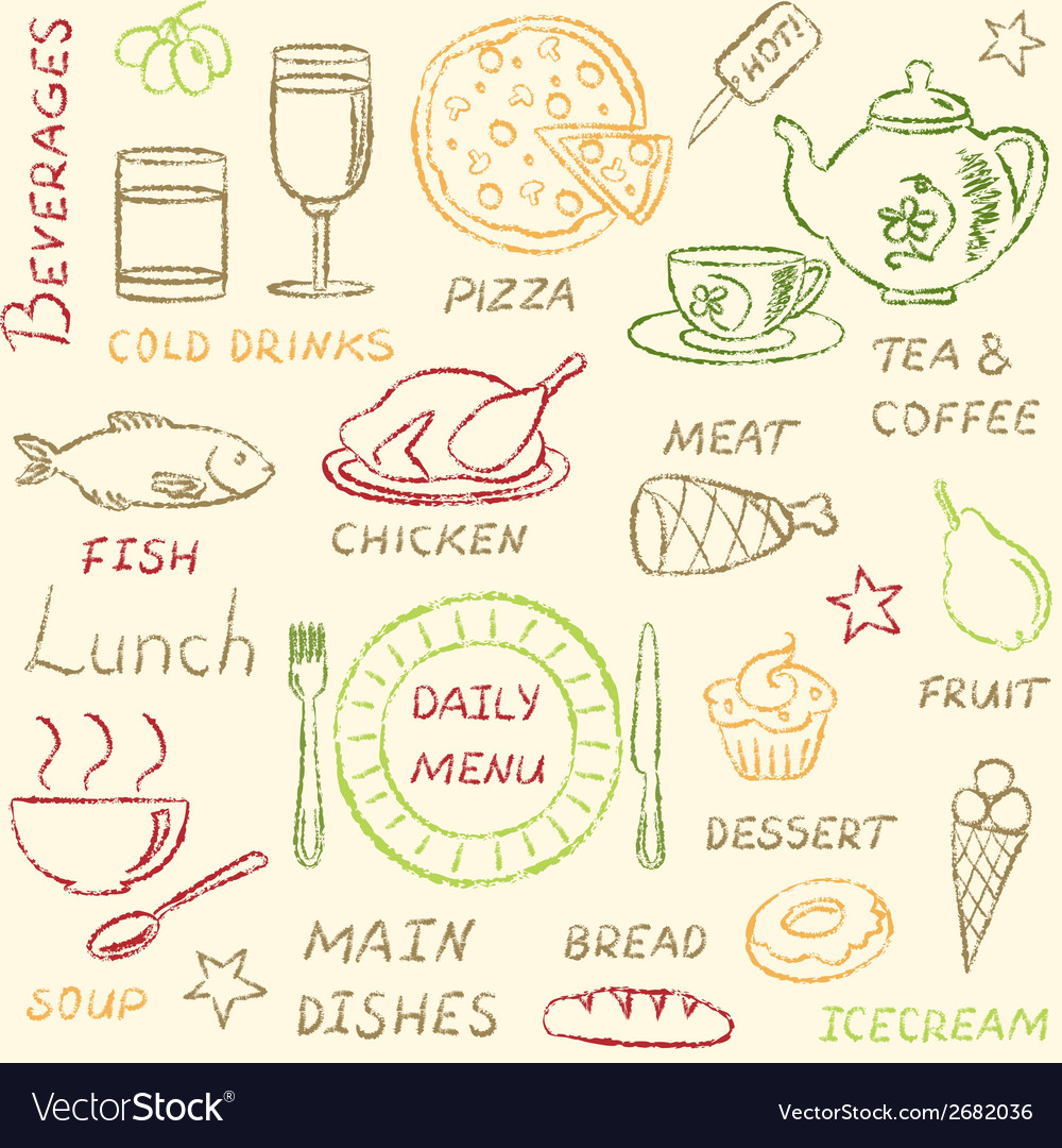 Seamless pattern with doodle menu elements vector