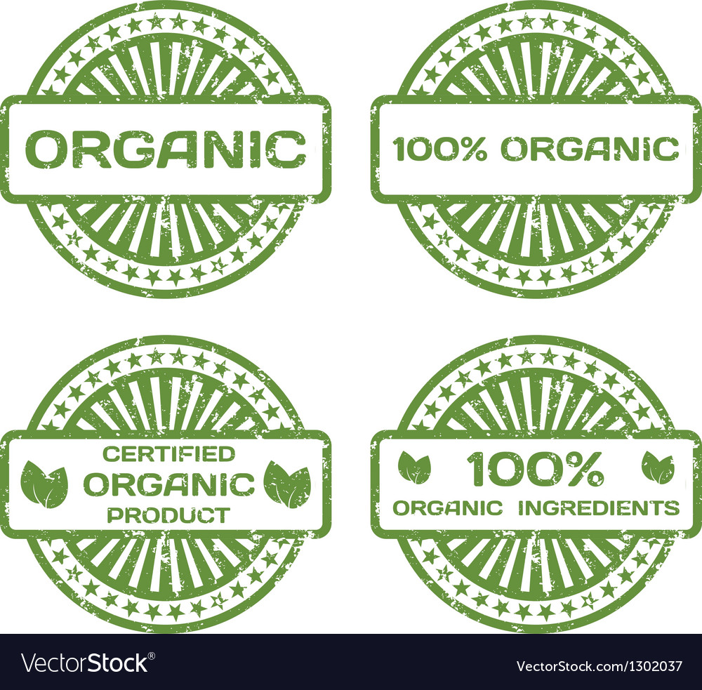 Grunge rubber stamp set organic product certified vector