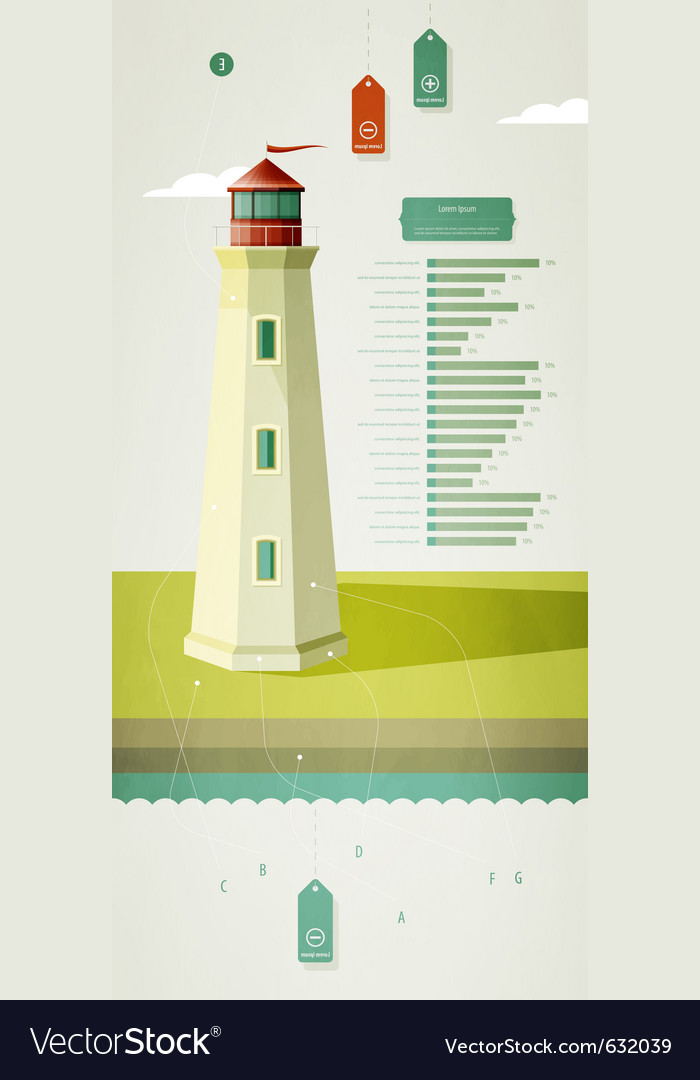 Infographics elements with a lighthouse vector