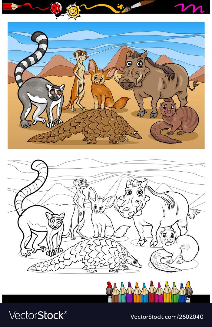 African mammals cartoon coloring book vector