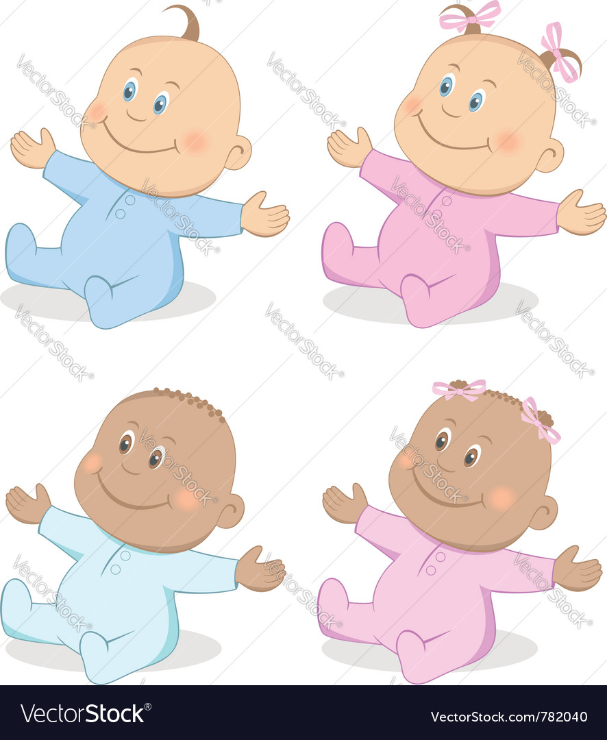 Babies boy and girl vector