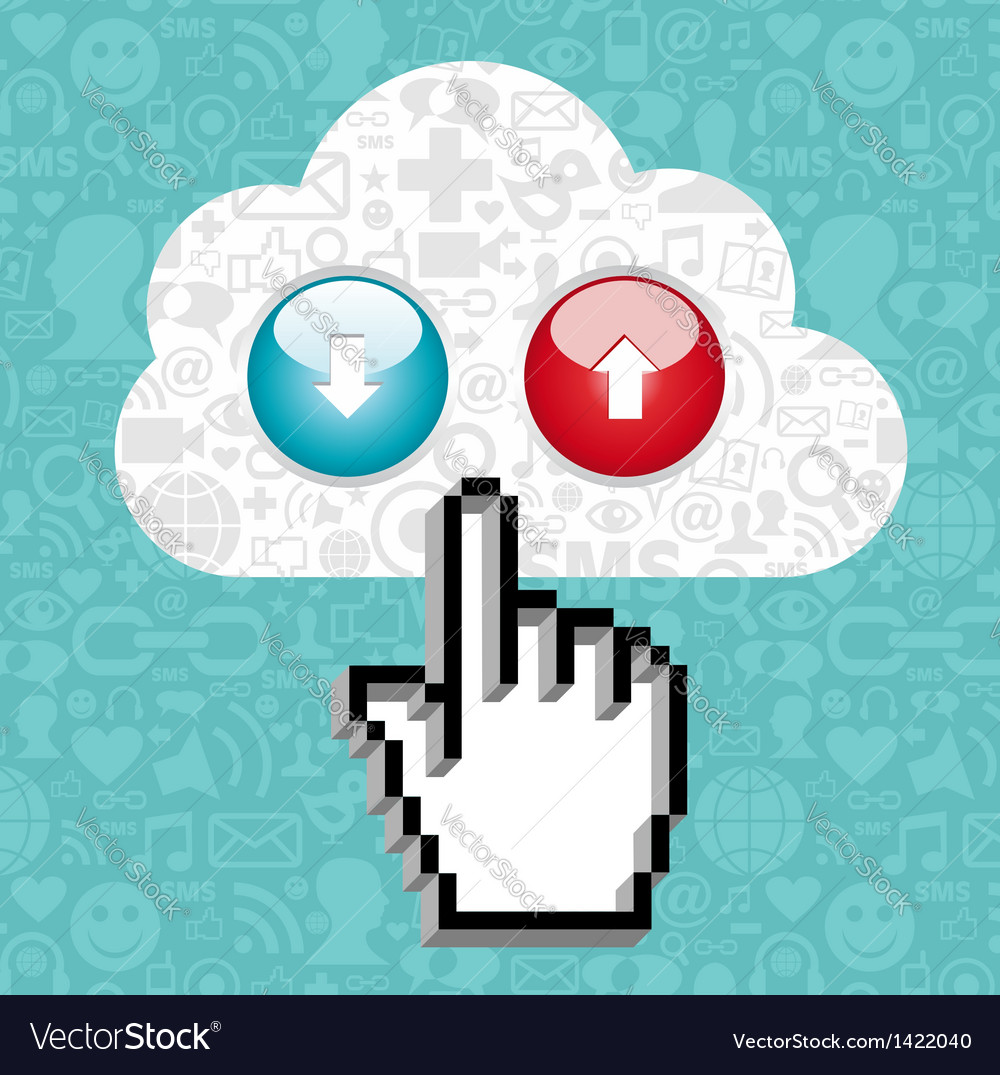 Cloud computing button and cursor hand vector