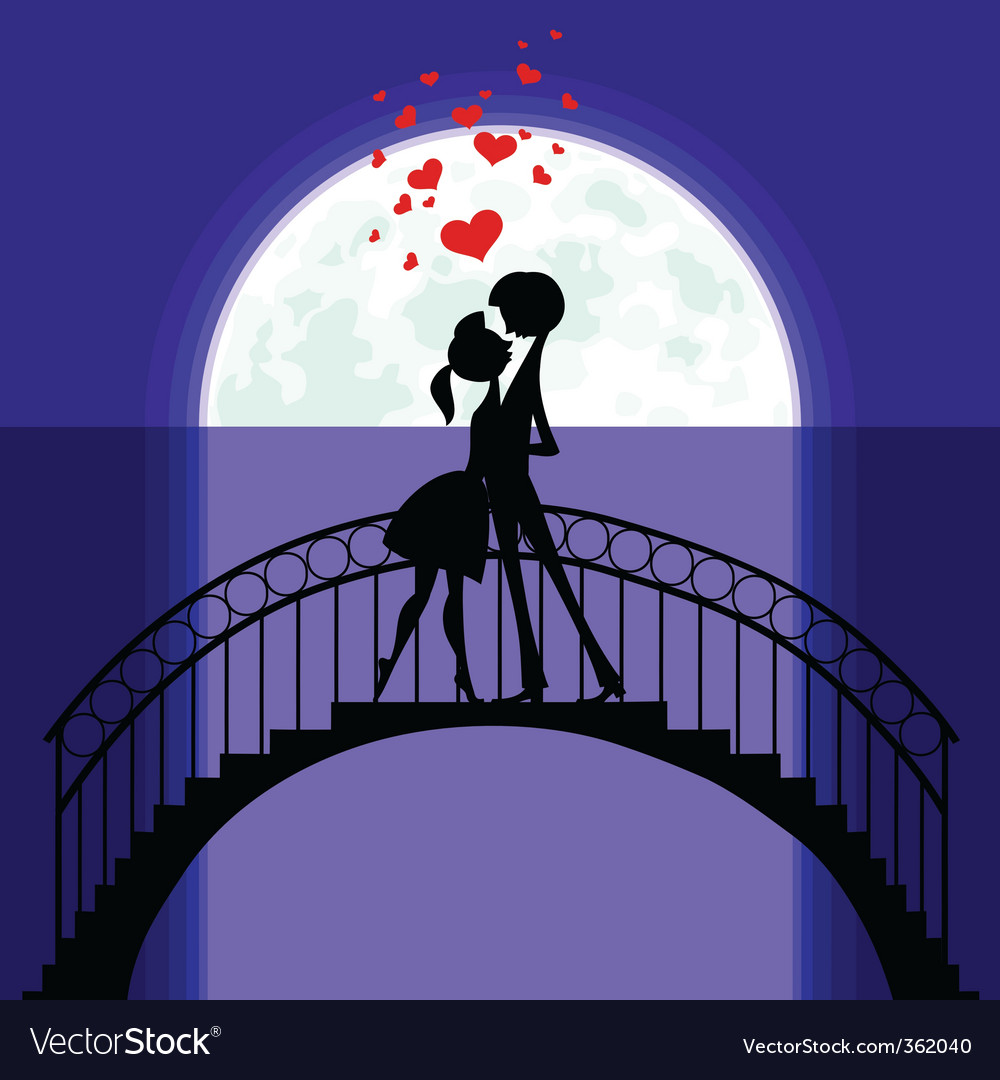 Love in moonlight vector
