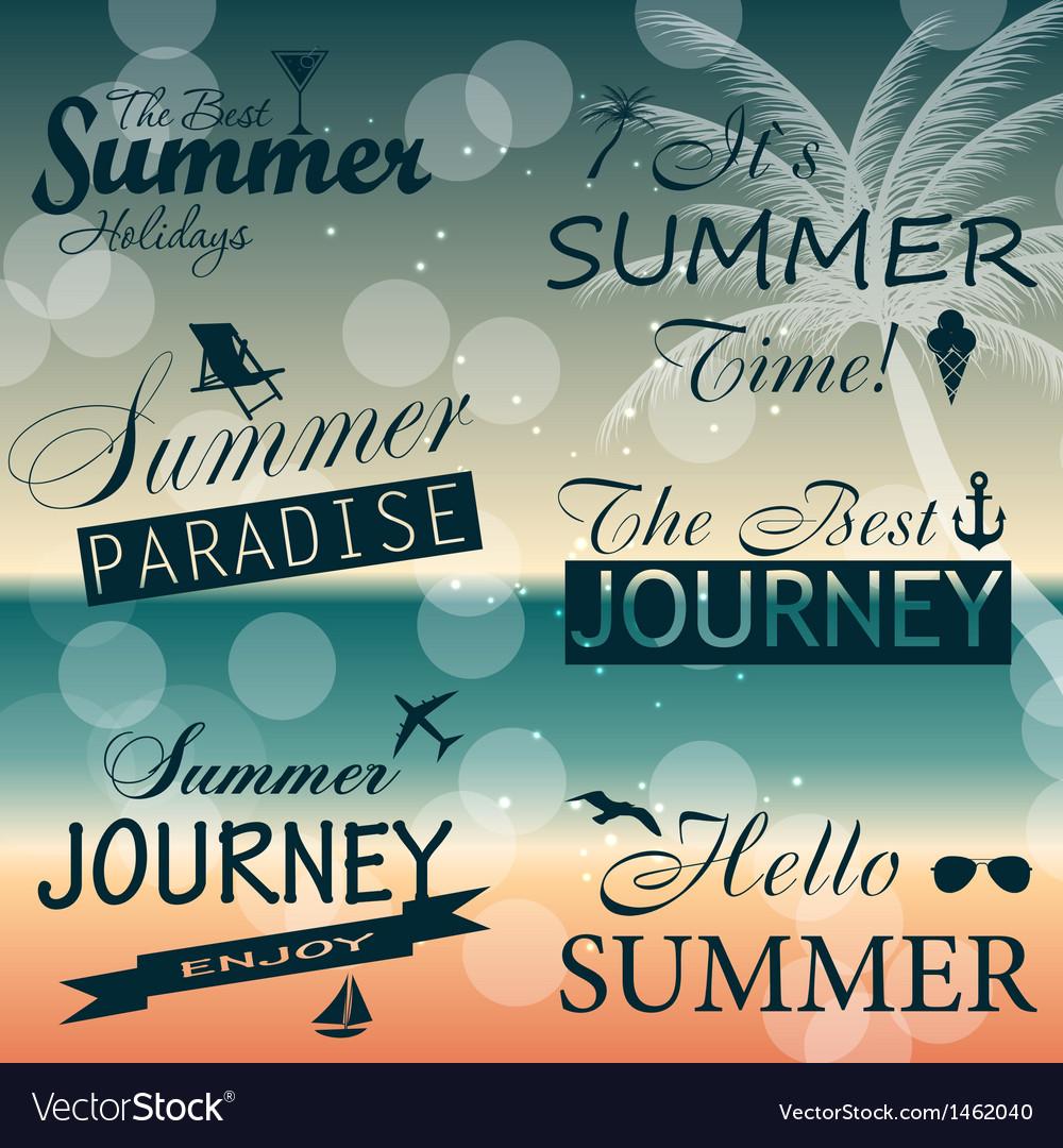 Vintage summer calligraphic elements design labels vector