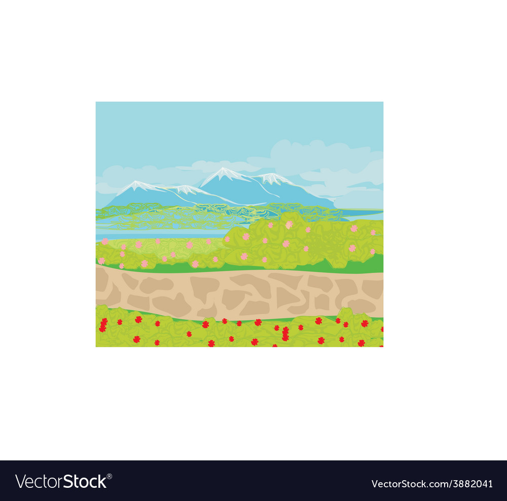 Landscape stone path in the mountains vector