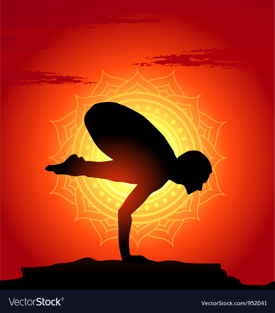 Yoga poses at sunset background vector