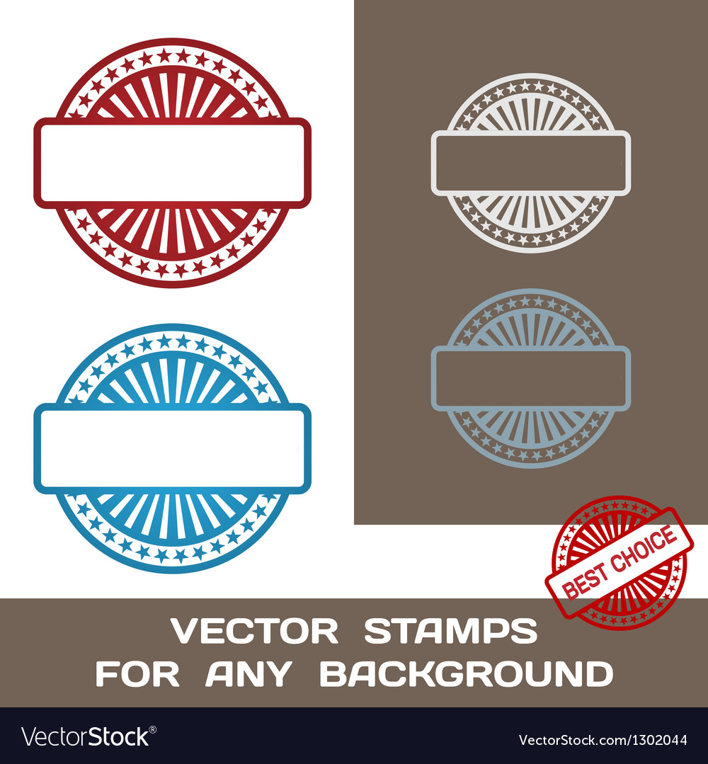 Blank rubber stamp set template for any background vector