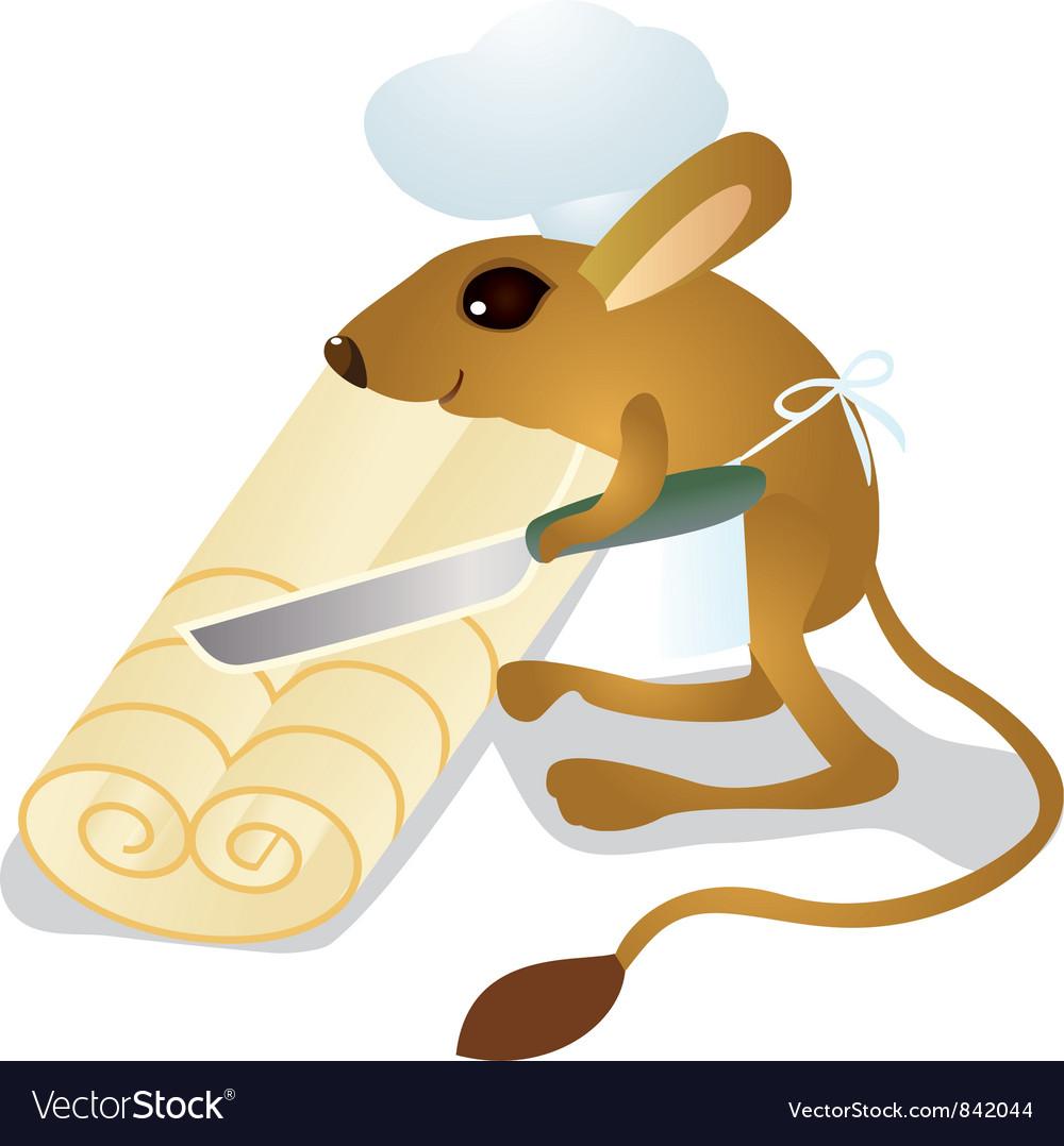 Jerboa chef cuts the dough vector