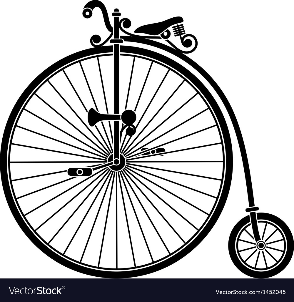 Penny farthing antique vintage bicycle vector