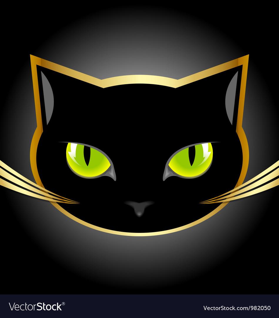 Black cat head vector