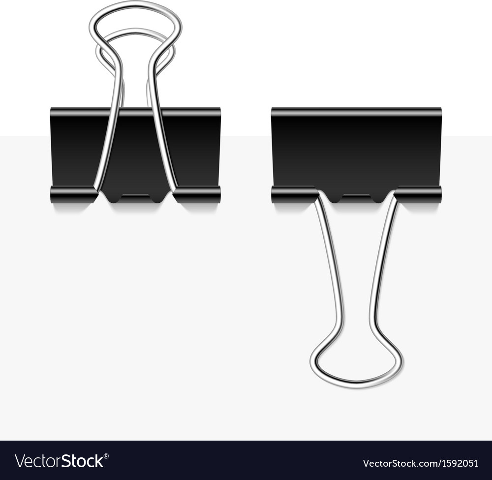 Black metal binder clips vector